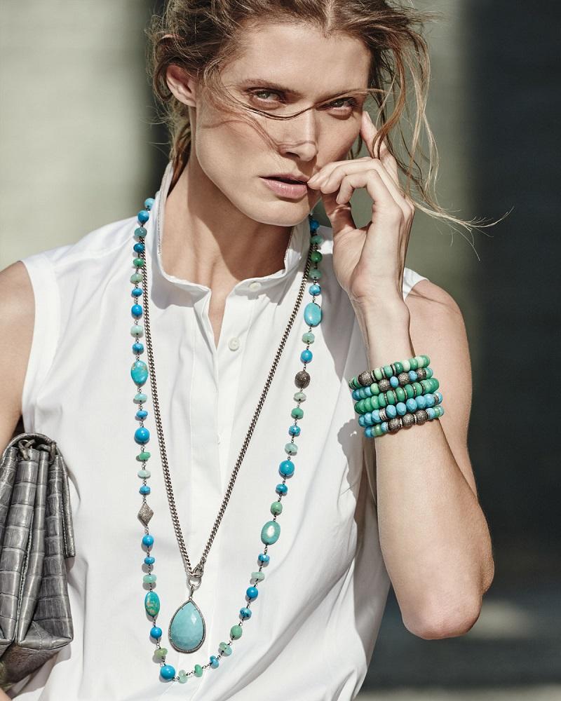 Sheryl Lowe 10mm Chrysoprase Bracelet with Diamond Rondelles