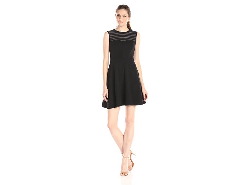 Shoshanna Calvin Stretch Mesh-Stripe Dress