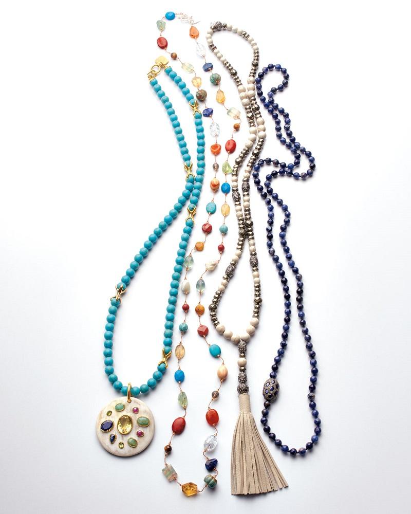 Siena Jewelry Sodalite Beaded Necklace with Diamonds & Sapphires