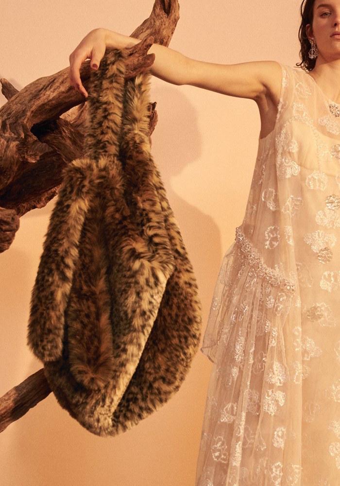 Simone Rocha Leopard Spot Faux Fur Tote Bag
