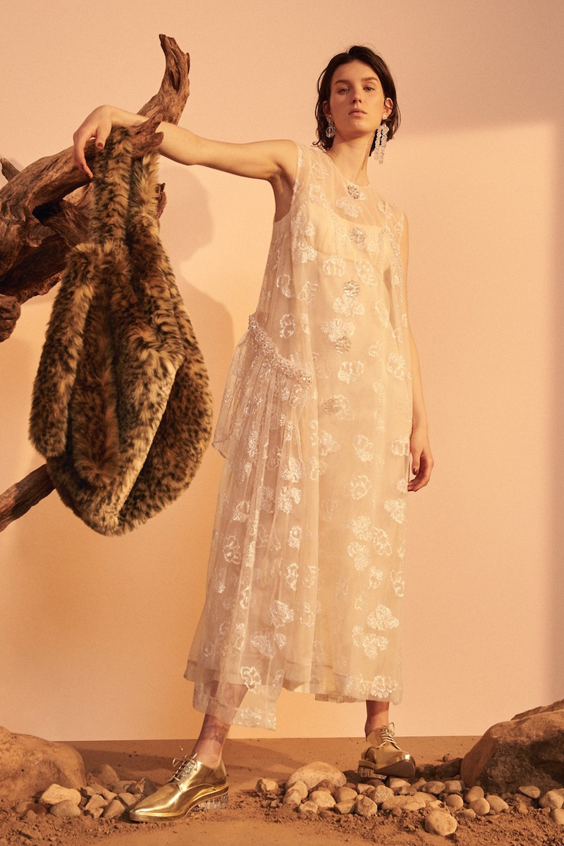 Simone Rocha Tinsel Embroidered Button Front Chiffon Dress