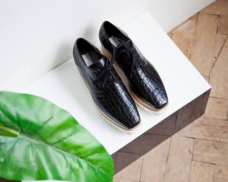 Stella McCartney Elyse Faux Crocodile Platform Shoes