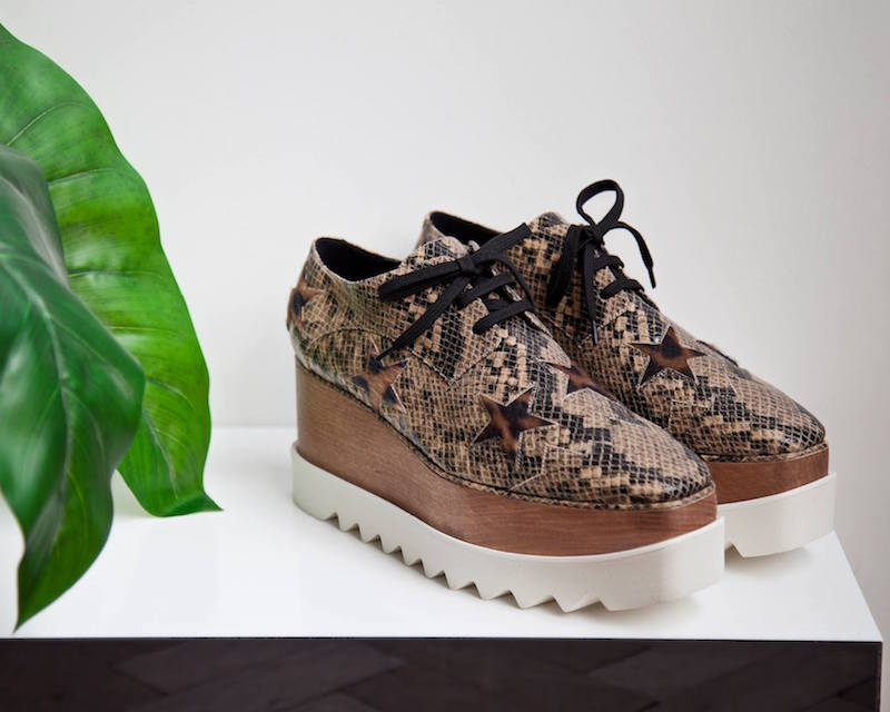 Stella McCartney Elyse Snake Print Furry Star Platform Shoes