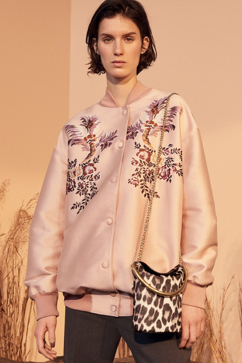 Stella McCartney Floral Embroidered Duchesse Satin Bomber Jacket