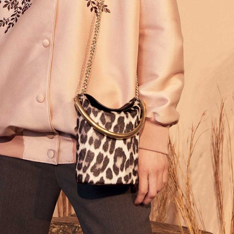 Stella McCartney Small Ring Leopard Print Faux Calf Hair Crossbody Bag