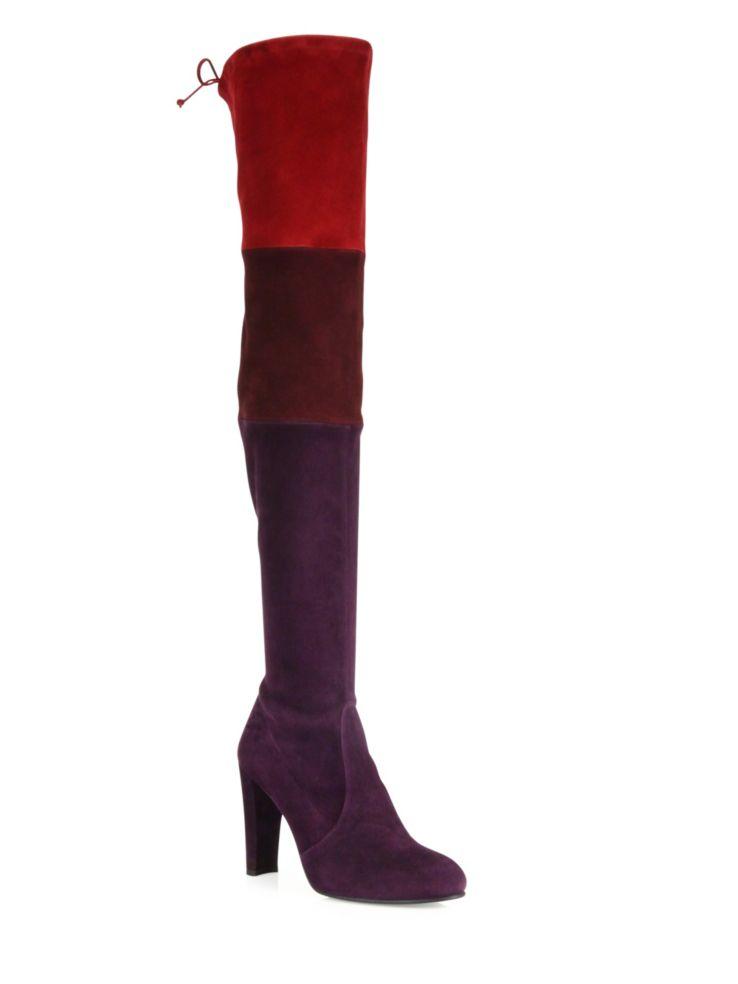 Stuart Weitzman Troika Colorblock Suede Over-The-Knee Boots