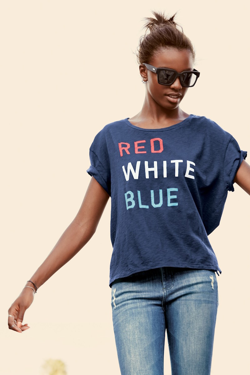 Sundry Red White Blue Graphic Cotton Tee