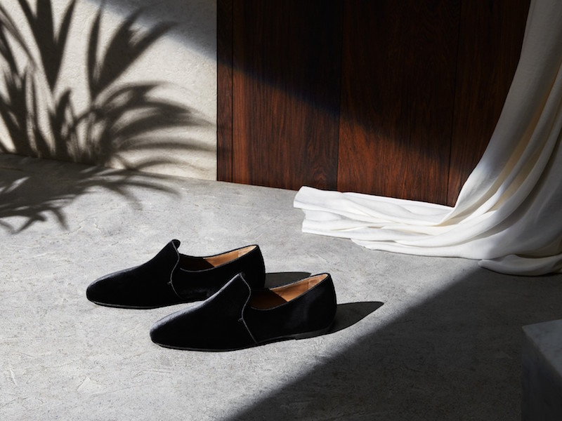 The Row Alys Velvet Loafers in Black