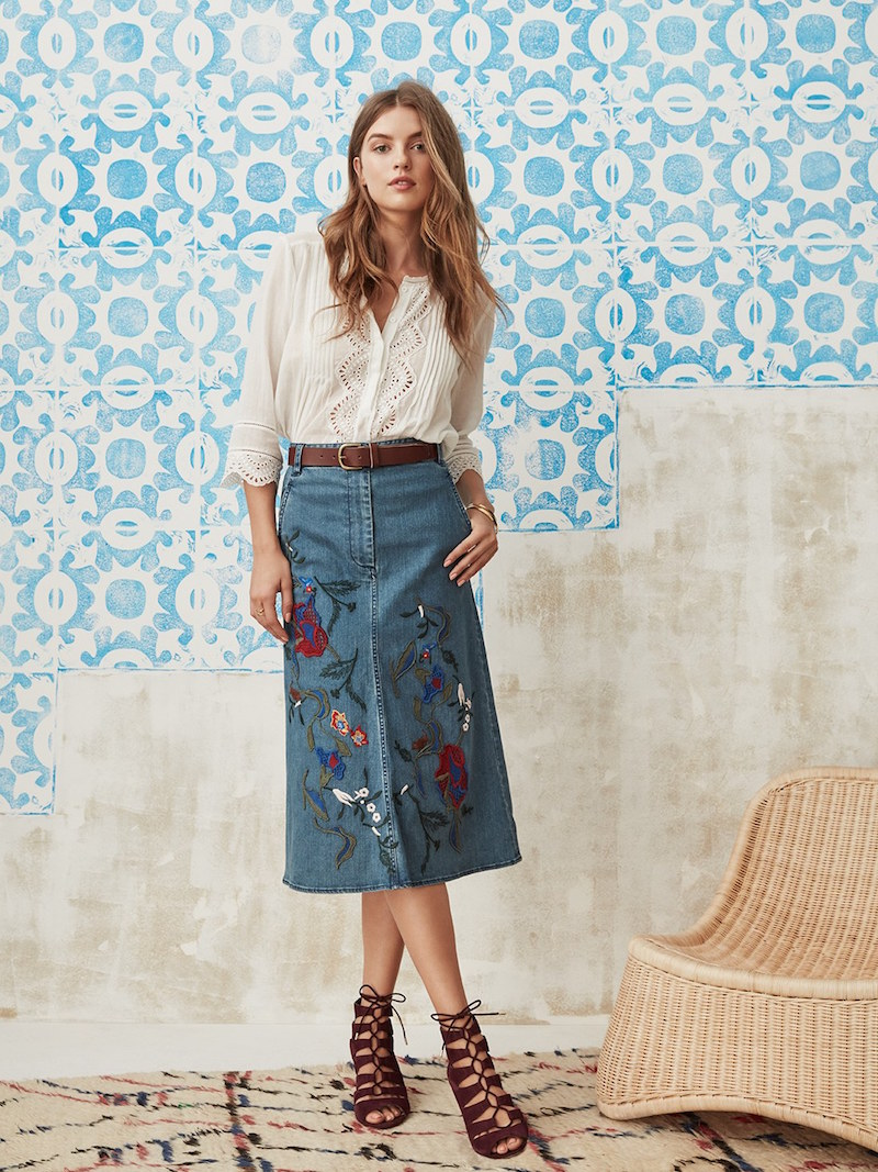 Tibi Marisol Embroidered Appliqué Denim A-Line Skirt