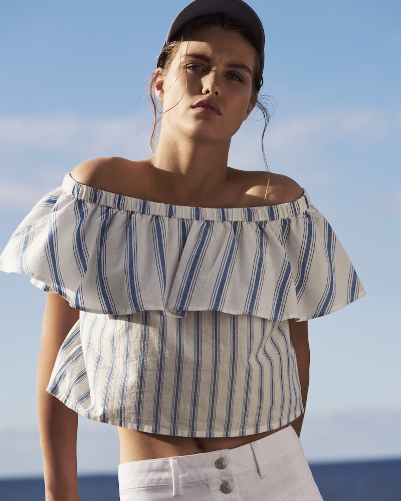 Topshop Layered Striped Bardot Top