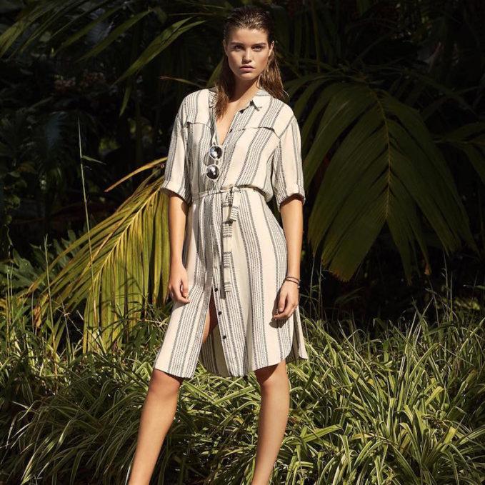 Topshop Stripe Belted Shirt Dress
