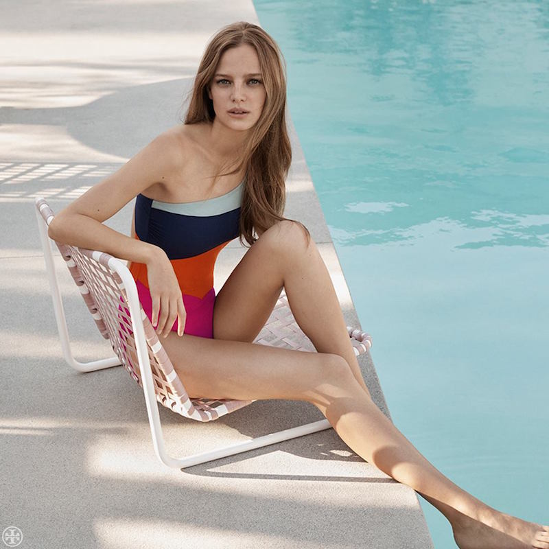 Tory Burch Marguerite Colorblock One-Shoulder Swimsuit