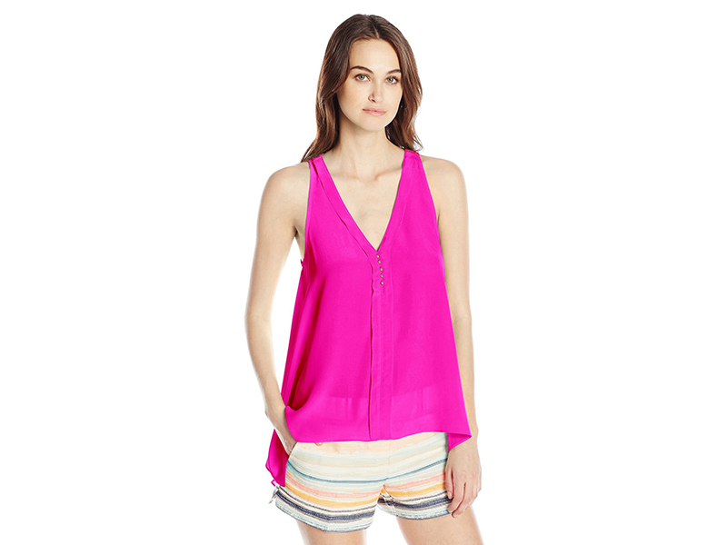 Trina Turk Lodi Silk Crepe De Chine Sleeveless Top