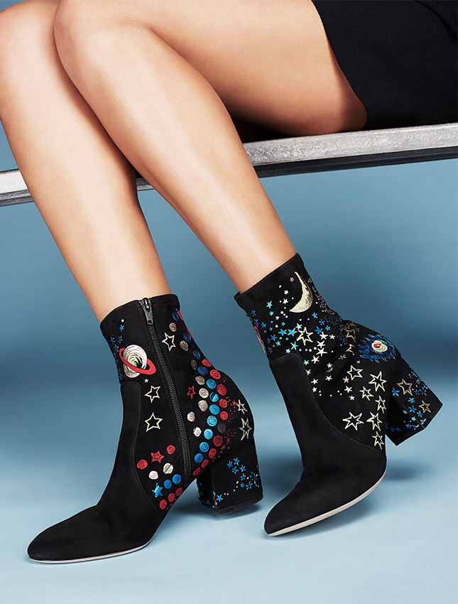 Valentino Astro Couture Suede Block-Heel Booties
