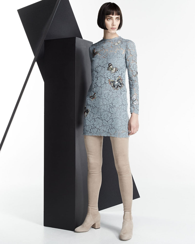 Valentino Butterfly-Embellished Lace Mini Dress