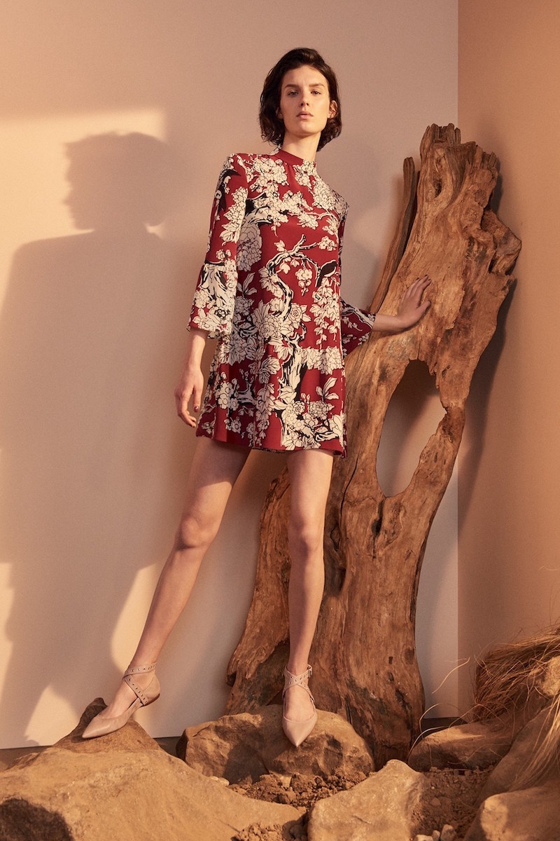 Valentino Enchanted Floral Print Stretch Silk Dress