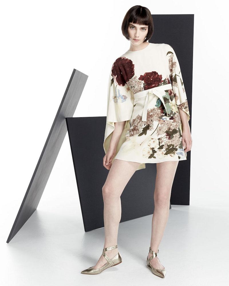 Valentino Kimono-Sleeve Printed Mini Dress