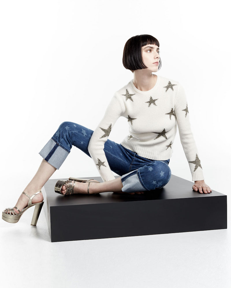Valentino Star-Intarsia Cropped Sweater