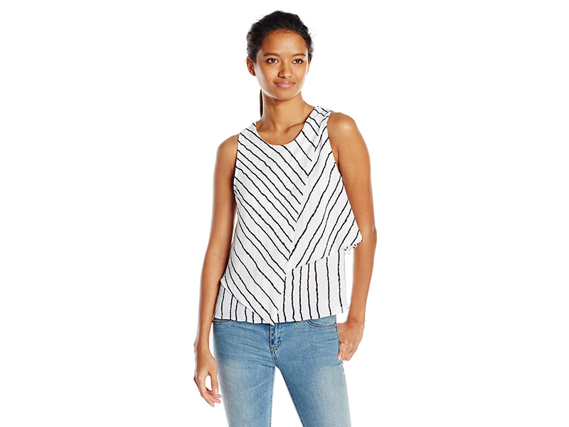 XOXO Sleeveless Stripe Asymmetrical Layer Top