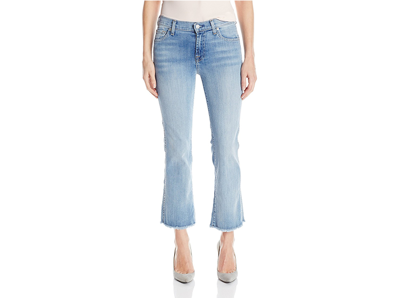 7 For All Mankind Cropped Boot Jean with Raw Hem In Santorini Light Aqua