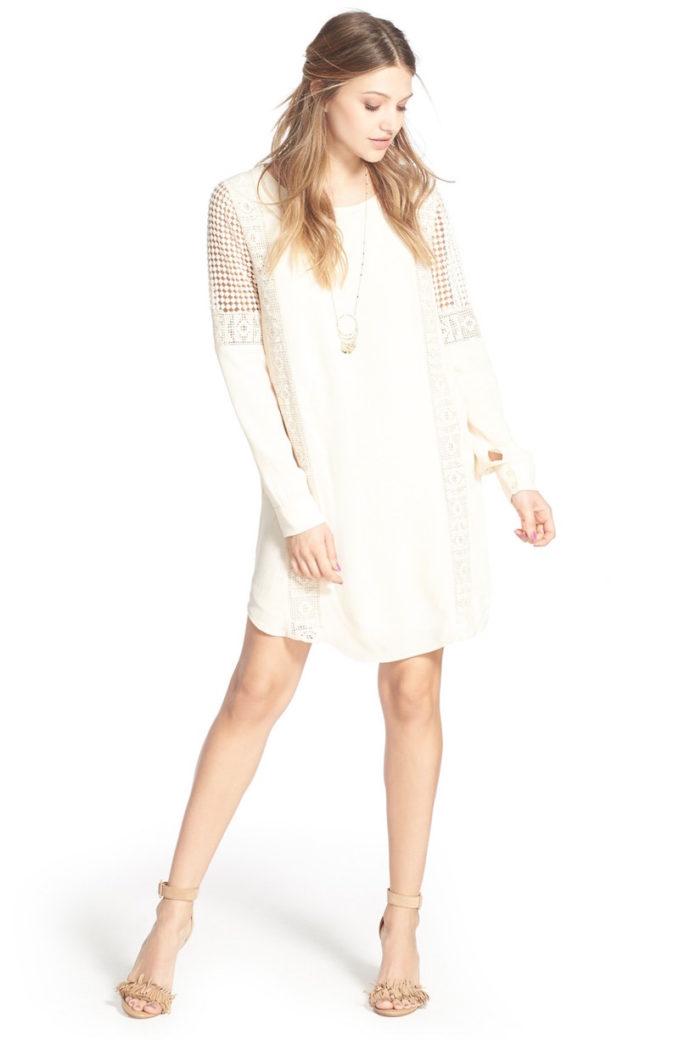 ASTR Crochet Inset Cotton Shift Dress
