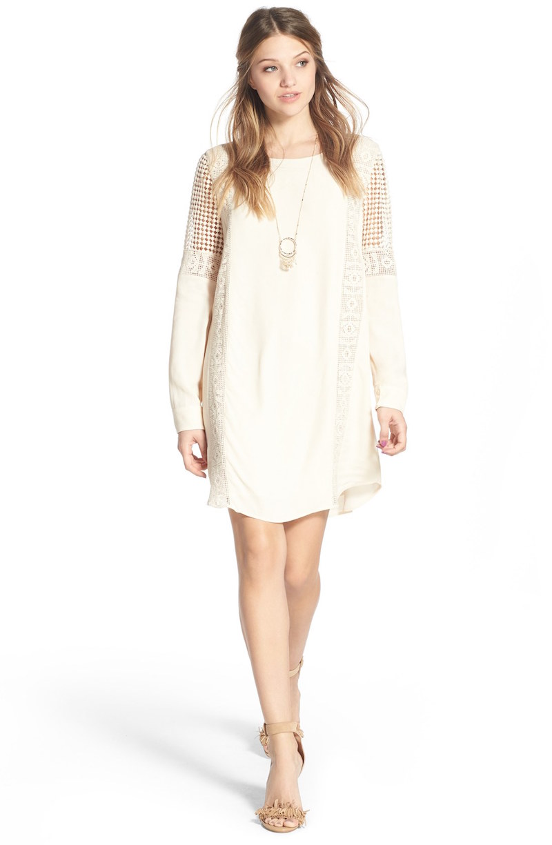 ASTR Crochet Inset Cotton Shift Dress_1