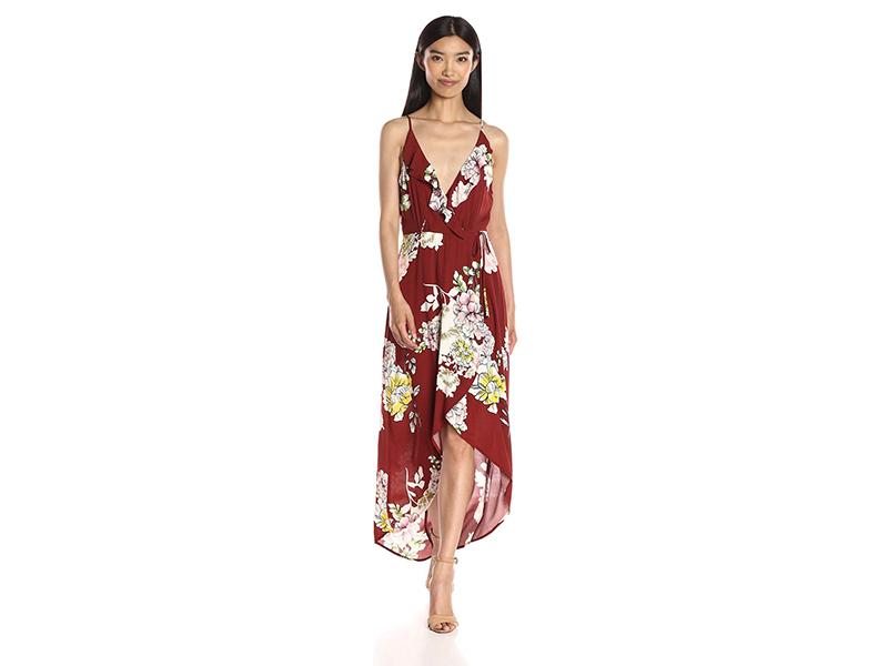 ASTR Lucia Floral Print Surplice Maxi Dress