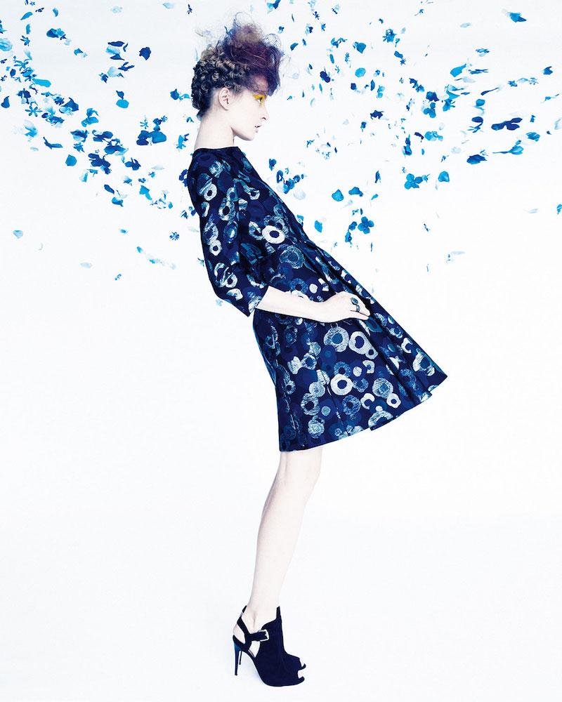 Akris 3 4-Sleeve Split-Neck Metallic Coat Dress