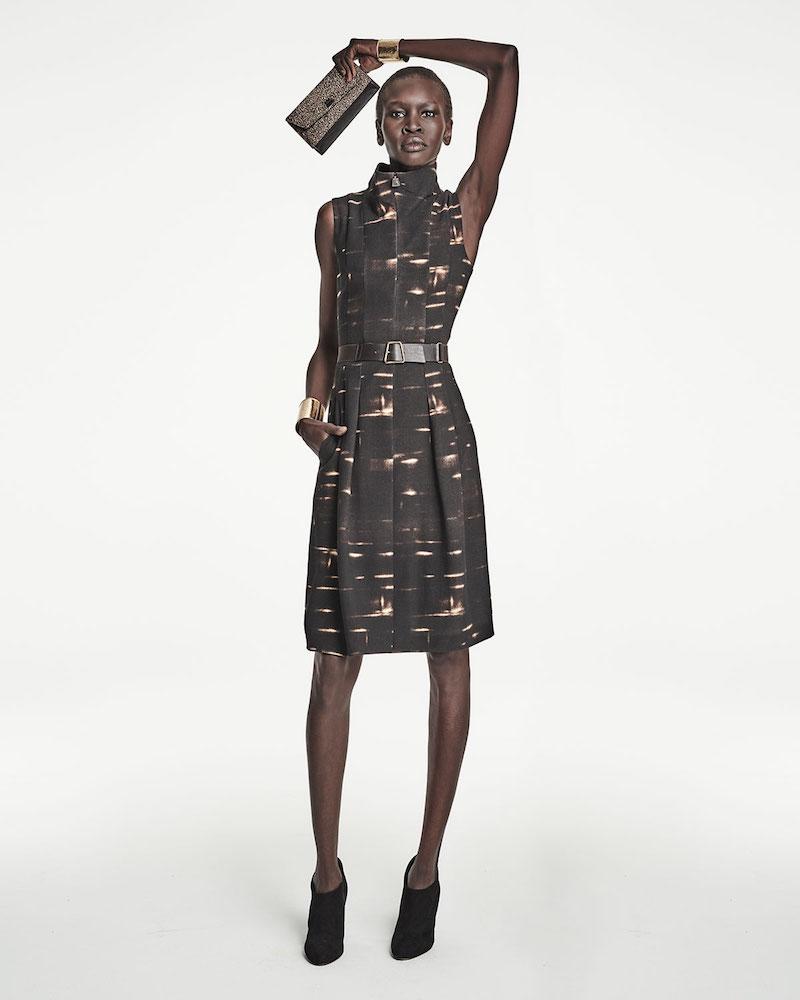 Akris Sleeveless Gnu-Print Belted Dress