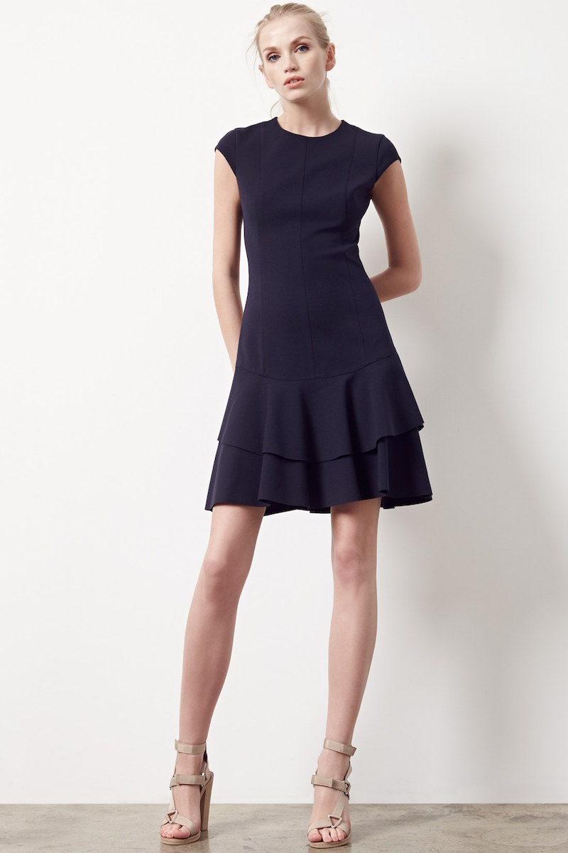 Akris punto Cap Sleeve Peplum Hem Jersey Dress