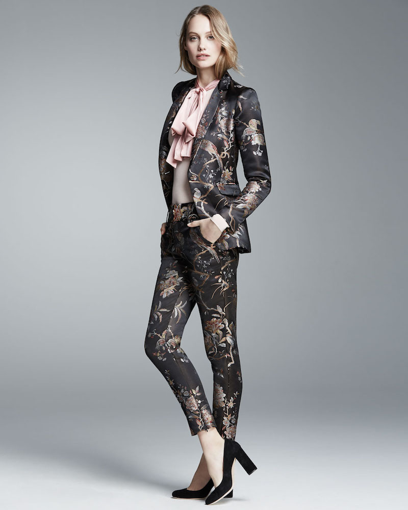 Alice + Olivia Macey Floral-Print Single-Button Blazer