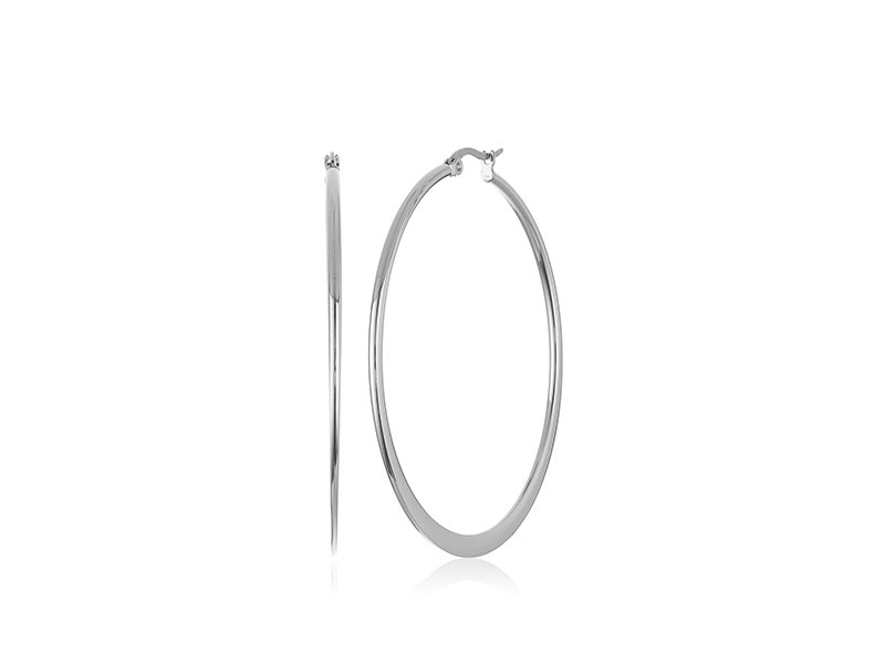 Amazon Collection Stainless Steel Round Hoop Earrings