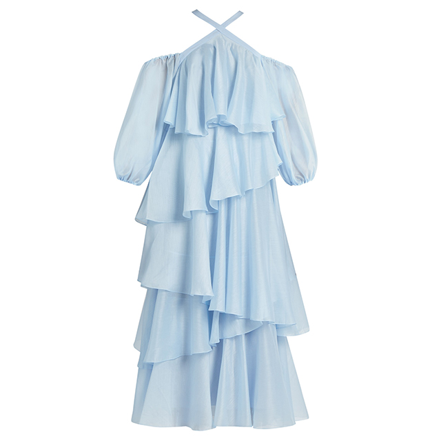 Anna October Cross-strap Tiered-ruffled Georgette Dress_1
