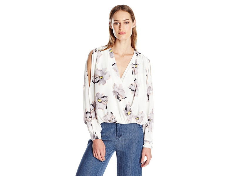 Ark & Co Overlap-Front Open Slit-Sleeve Top