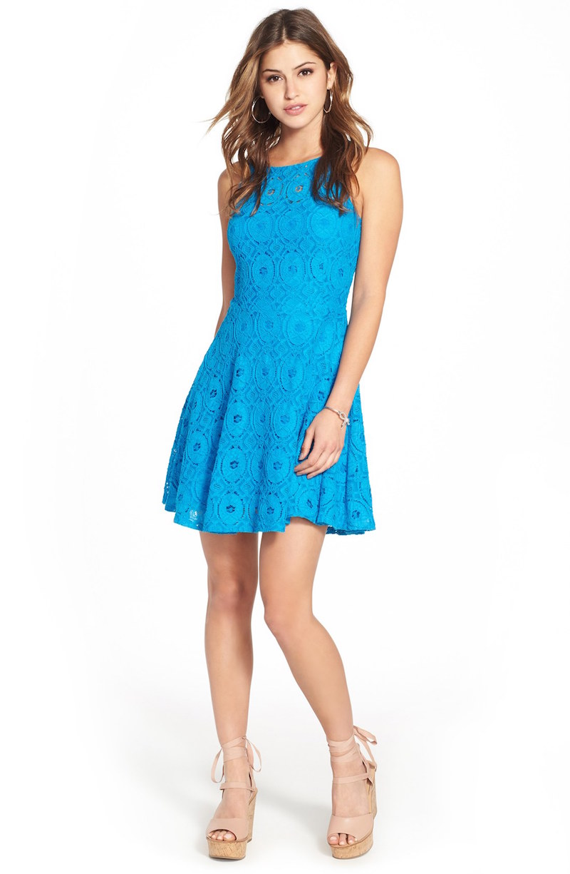 BB Dakota Renley Lace Fit & Flare Dress