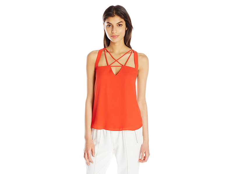 BCBGMAXAZRIA Raelyn Open Neck Woven Top
