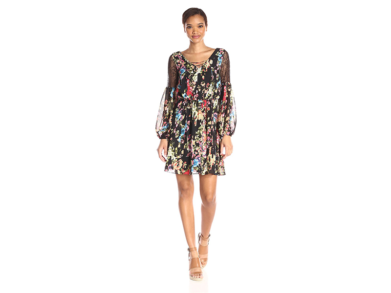 Betsey Johnson New Boho Floral Dress with Lace Inset Sleeves