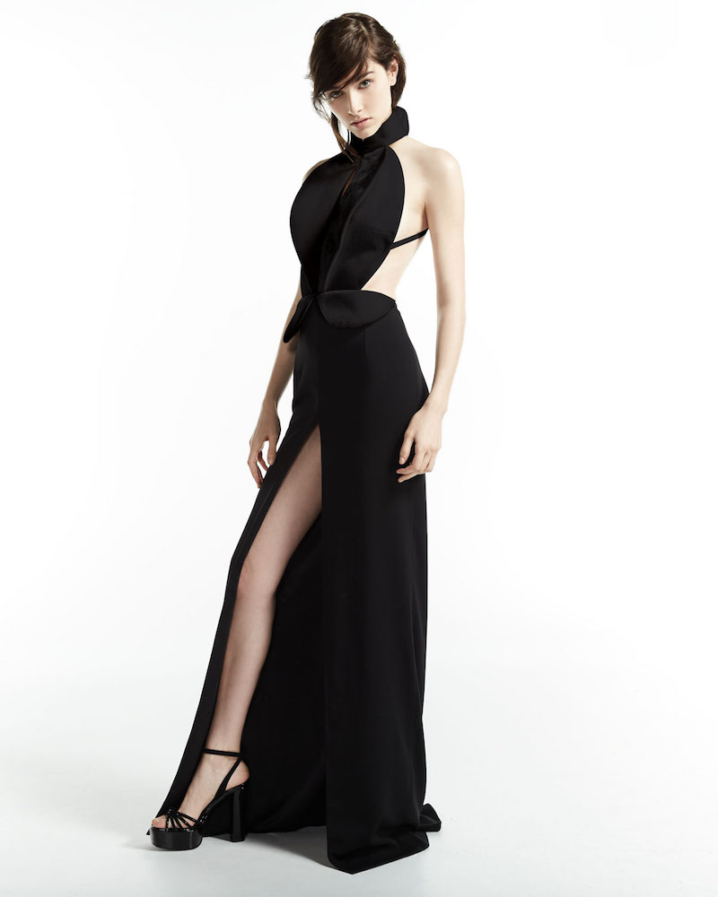 Brandon Maxwell Sleeveless Cutout Tuxedo Gown