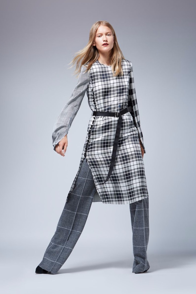 Calvin Klein Collection Runway Plaid, Houndstooth & Graph Check Silk Dress