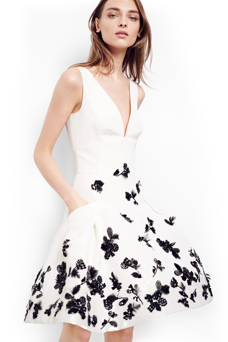 Carolina Herrera Floral Appliqué Fit & Flare Silk Dress