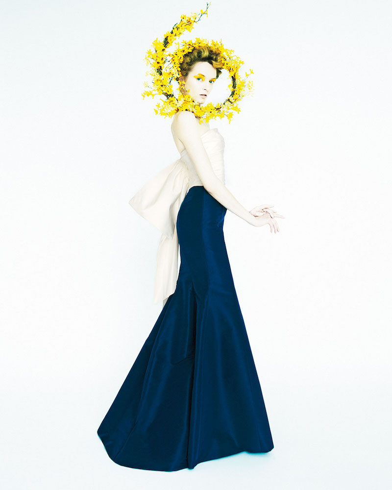 Carolina Herrera Strapless Colorblock Fishtail Gown