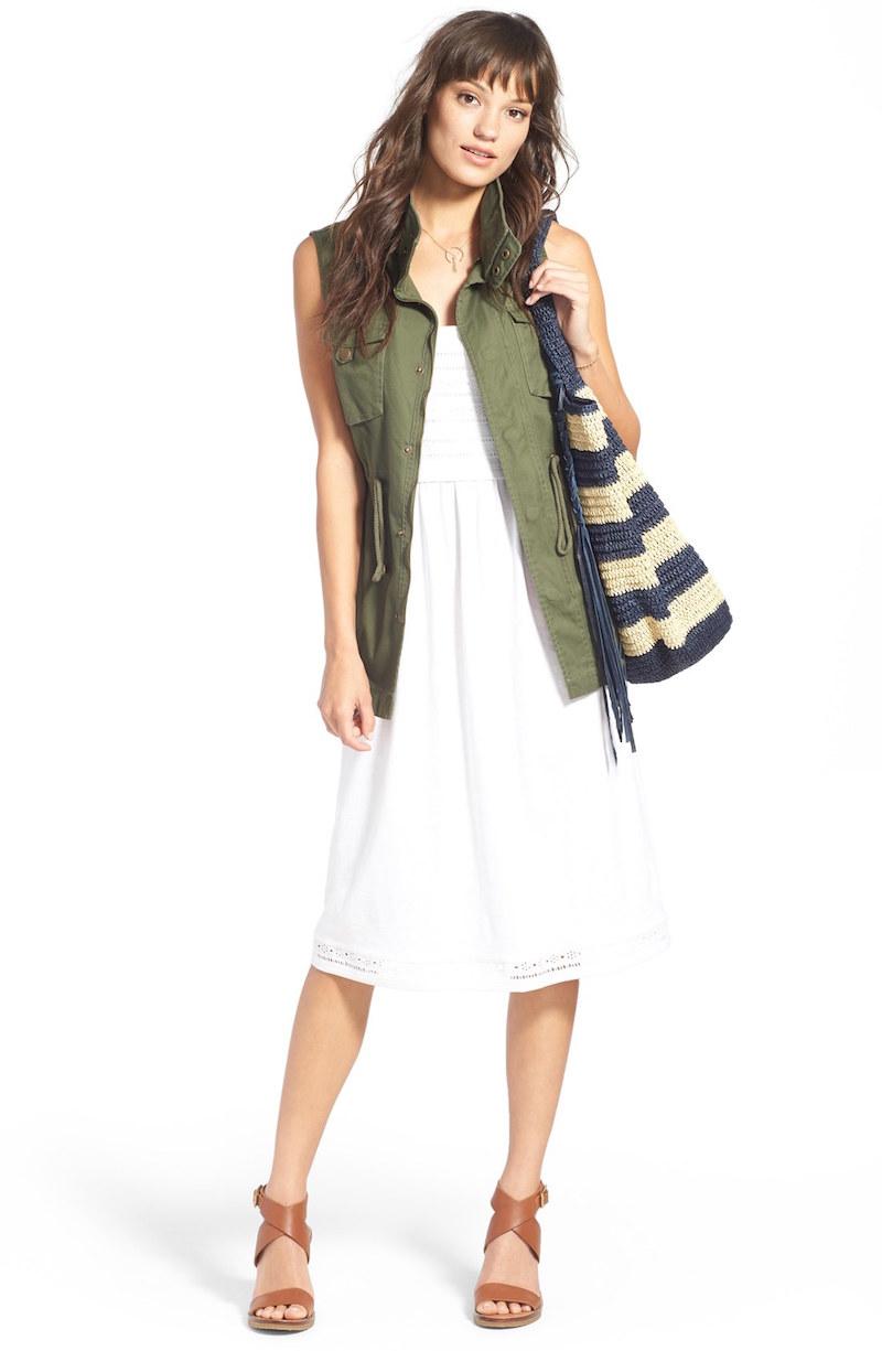 Caslon Lace Inset Bodice Cotton Knit Sundress