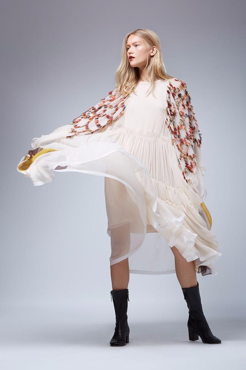 Chloé Oversized Angel Sleeve Dress