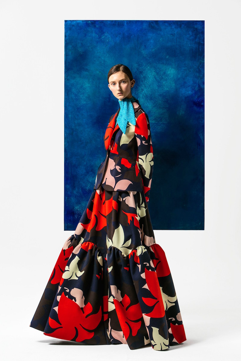Delpozo Floral-print Single-breasted Cotton Jacket