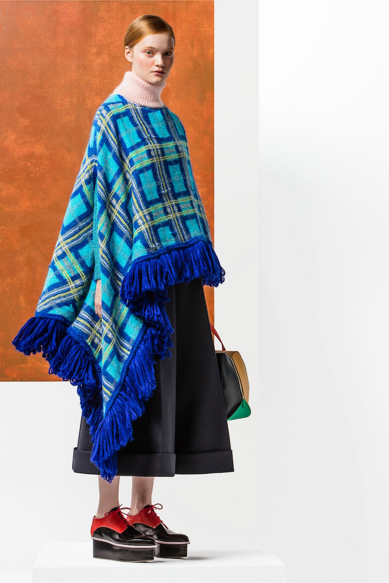 Delpozo Roll-neck Plaid-knit Asymmetric Poncho