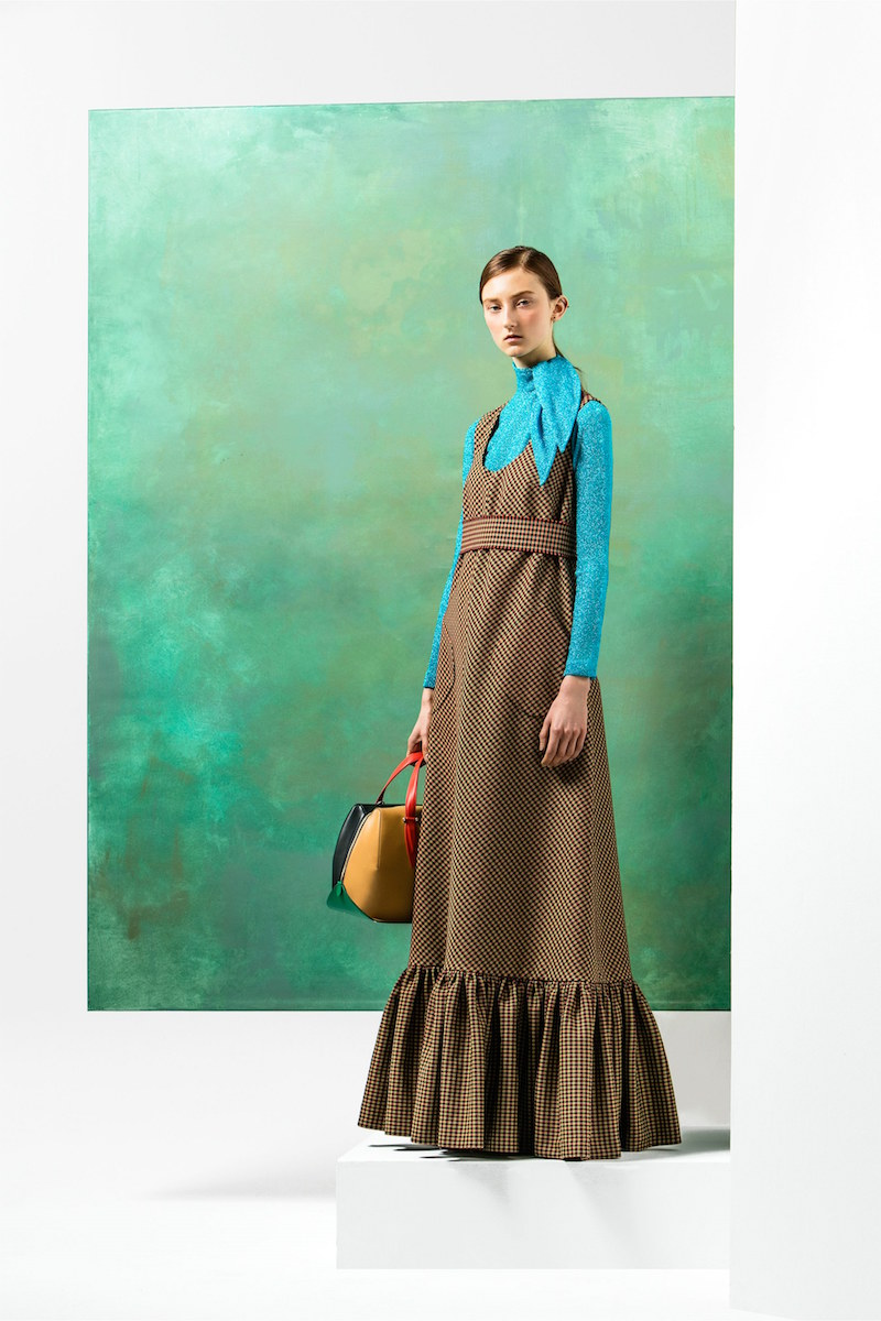 Delpozo Ruffled-hem Tweed Maxi Dress