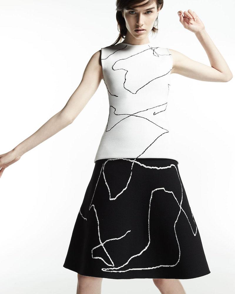 Derek Lam Calder Line Art A-Line Skirt