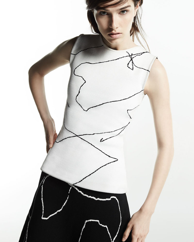 Derek Lam Calder Sleeveless Line Art Top