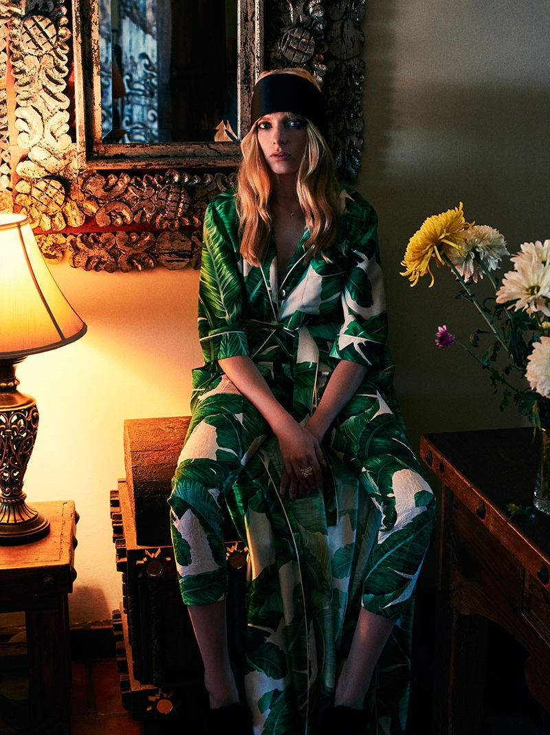 Dolce & Gabbana Banana leaf-print belted gown