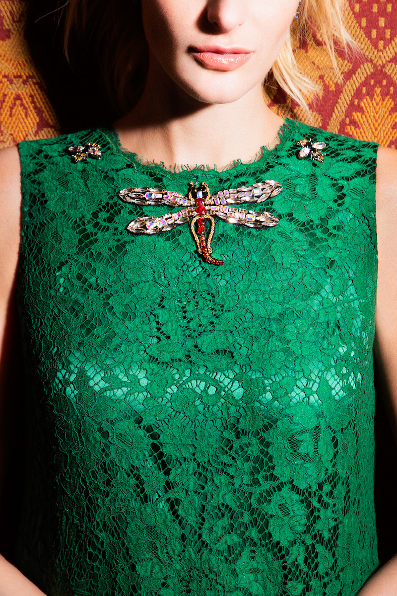 Dolce & Gabbana Brooch-Embellished Lace Shift Dress